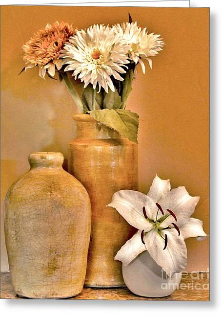Ceramic Digital Greeting Cards - Fall Floral Bouquets Greeting Card by Marsha Heiken