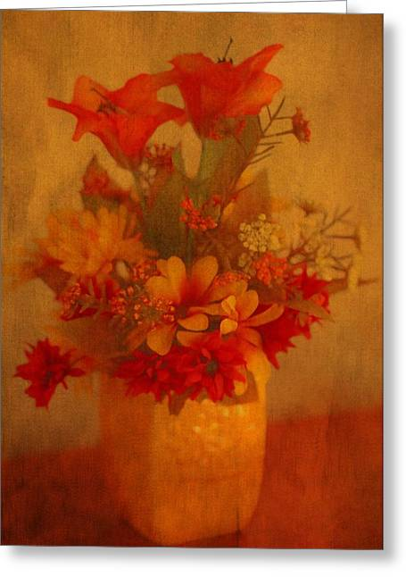 Romance Mixed Media Greeting Cards - Fall Flower Bouquet Greeting Card by Dan Sproul