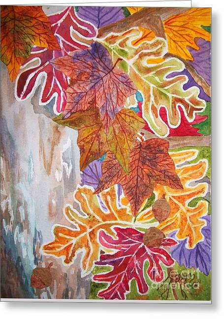 Fall Colors Greeting Cards - Fall Flurry Greeting Card by Ellen Levinson