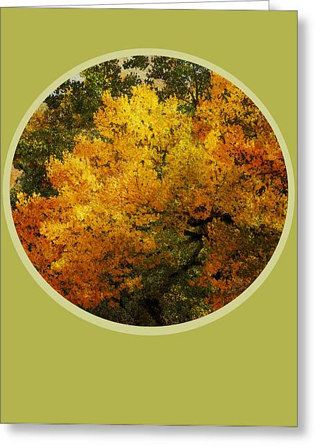 Green And Yellow Abstract Greeting Cards - Fall Foliage Greeting Card by Ann Powell