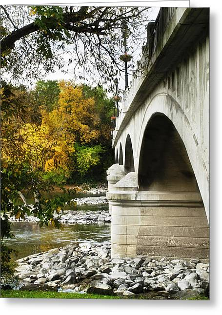 Fall River Scenes Photographs Greeting Cards - Fall Foliage Around The Memorial Street Bridge Greeting Card by Christina Rollo