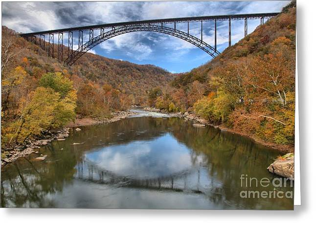 Famous Bridge Greeting Cards - Fall Foliage At New River Gorge Bridge Greeting Card by Adam Jewell