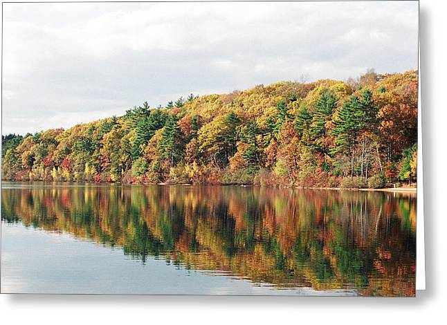Recently Sold -  - Walden Pond Greeting Cards - Fall Foliage at Walden Pond Greeting Card by John Sarnie