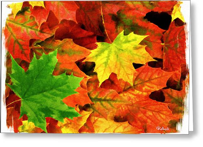 Turning Leaves Mixed Media Greeting Cards - Fall Foliage Greeting Card by Bob Sandler