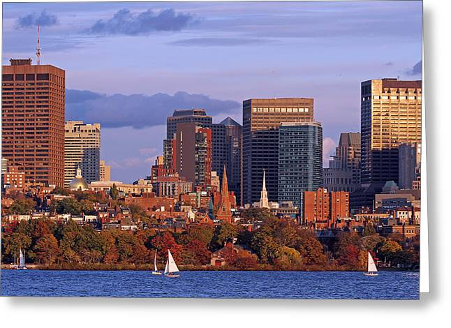 Charles River Greeting Cards - Fall Foliage Colors across Boston Beacon Hill Greeting Card by Juergen Roth