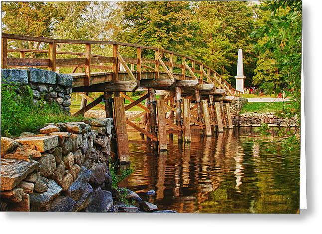 Battle Of Concord Greeting Cards - Fall foliage over the North bridge Greeting Card by Jeff Folger
