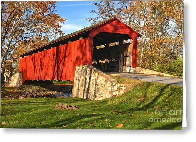 Conestoga Greeting Cards - Fall Foliage Poole Forge Covered Bridge Greeting Card by Adam Jewell