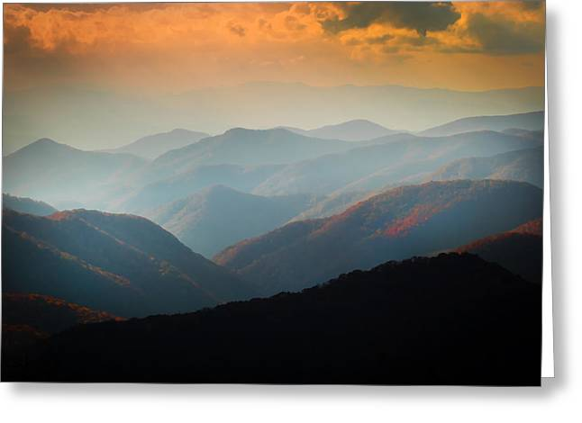 Gatlinburg Tennessee Greeting Cards - Fall Foliage Ridgelines Great Smoky Mountains Painted  Greeting Card by Rich Franco