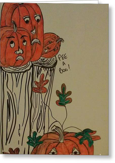 Fall Scenes Drawings Greeting Cards - Fall For Pumpkins Greeting Card by Laurrie Lloyd