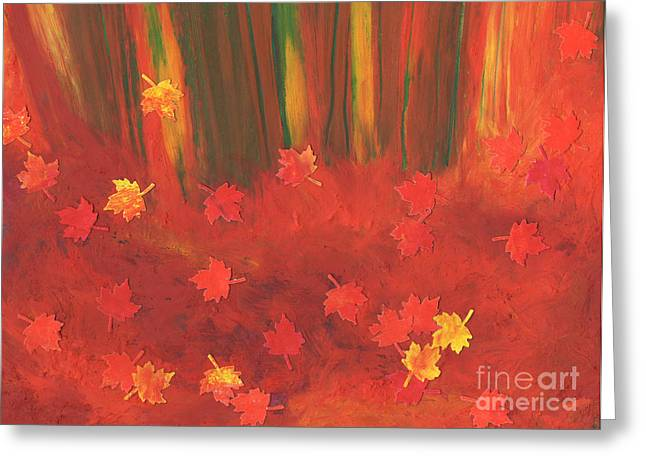 Forest Floor Pastels Greeting Cards - Fall Forest Floor by jrr Greeting Card by First Star Art