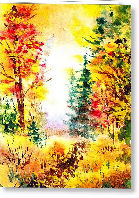 Fall Scenes Greeting Cards - Fall Forest Greeting Card by Irina Sztukowski