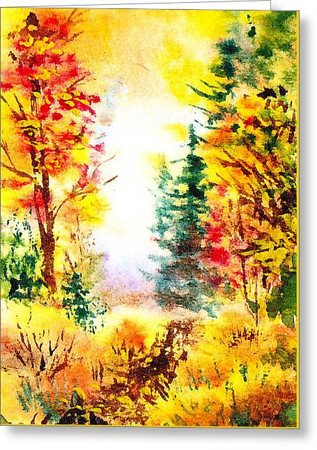 Fall Forest Greeting Card by Irina Sztukowski