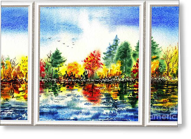 Unique View Paintings Greeting Cards - Fall Forest Window View Greeting Card by Irina Sztukowski