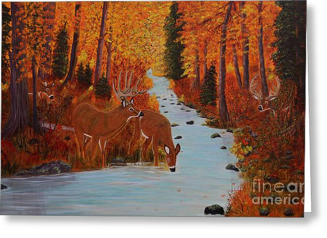 Etc. Paintings Greeting Cards - Fall Forest with Deer Greeting Card by Myrna Walsh
