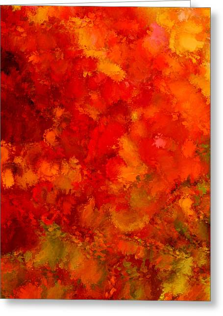 Red Maple Trees Greeting Cards - Fall Frolic Greeting Card by Lourry Legarde