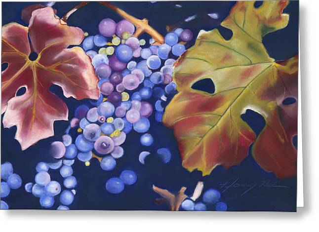 Burgundy Pastels Greeting Cards - Fall Grapes Greeting Card by Nancy Helm