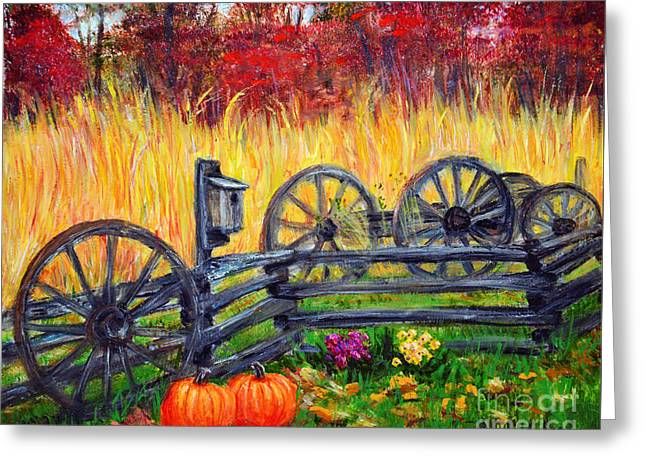 Wooden Wagons Paintings Greeting Cards - Fall Harvest Greeting Card by Savannah Gibbs