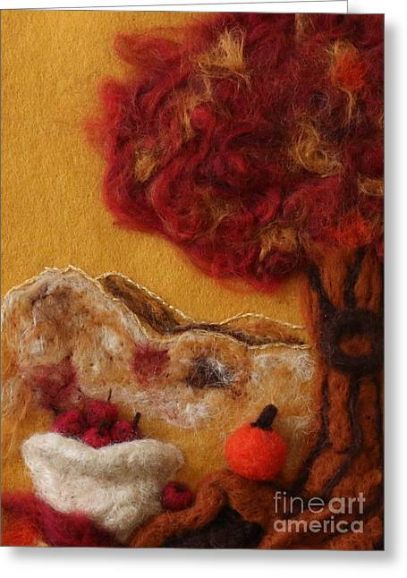 Autumn Prints Tapestries - Textiles Greeting Cards - Fall Harvest Greeting Card by Shakti Chionis