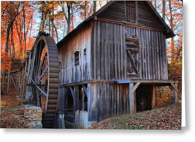 Grist Wheel Greeting Cards - Fall Hilights Over The Grist Mill Greeting Card by Adam Jewell