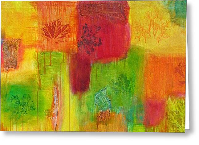 Mix Medium Mixed Media Greeting Cards - Fall Impressions Greeting Card by Angelique Buman