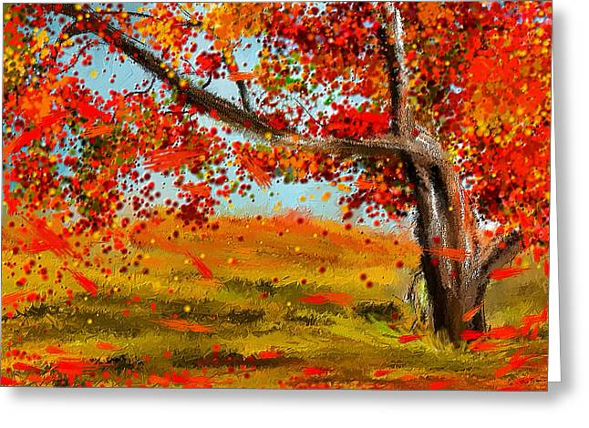 Red Maple Trees Greeting Cards - Fall Impressions Greeting Card by Lourry Legarde