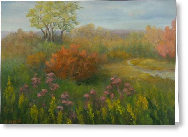 East Hampton Paintings Greeting Cards - Fall In New England Greeting Card by Pamela Allegretto