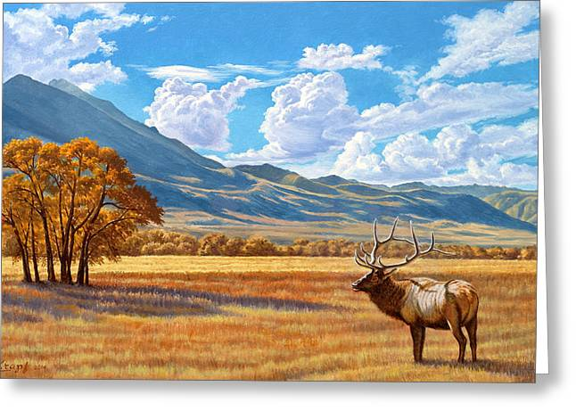 Elk Greeting Cards - Fall in Paradise Valley Greeting Card by Paul Krapf