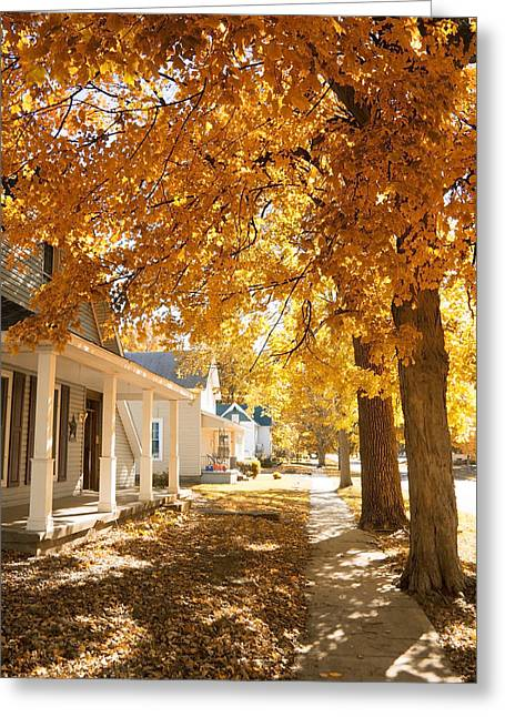 Indiana Landscapes Greeting Cards - Fall in small town Greeting Card by Alexey Stiop