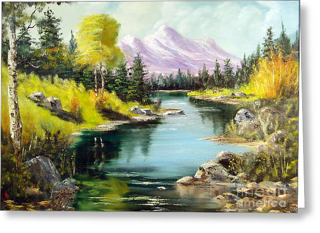 Snow Scene Landscape Greeting Cards - Fall In The Rockies Greeting Card by Lee Piper