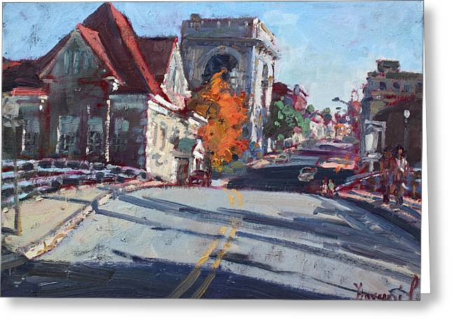 Old Building Greeting Cards - Fall in Town of Lockport Greeting Card by Ylli Haruni