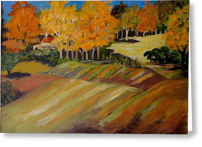 Landscape Ceramics Greeting Cards - Fall in Vermont Greeting Card by Carol Keiser