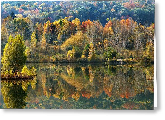 Reflecting Water Greeting Cards - Fall Kaleidoscope Greeting Card by Christina Rollo