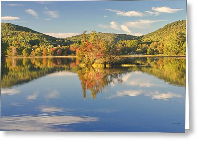 New England Wilderness Greeting Cards - Fall Landscape on Flying Pond in Vienna Maine Greeting Card by Keith Webber Jr
