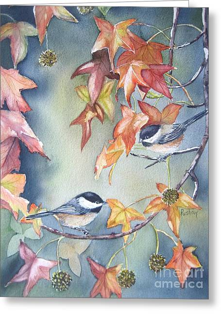 Bird On Tree Greeting Cards - Fall leaves and chickadees Greeting Card by Patricia Pushaw
