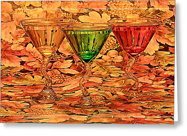 Hanging Wine Glasses Greeting Cards - Fall leaves and drivks Greeting Card by Geraldine Scull