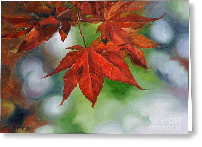 Interior Still Life Paintings Greeting Cards - Fall Leaves Greeting Card by Lori Pittenger