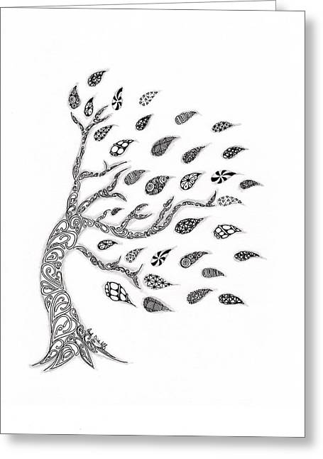 Roots Drawings Greeting Cards - Fall Leaves Greeting Card by Paula Dickerhoff