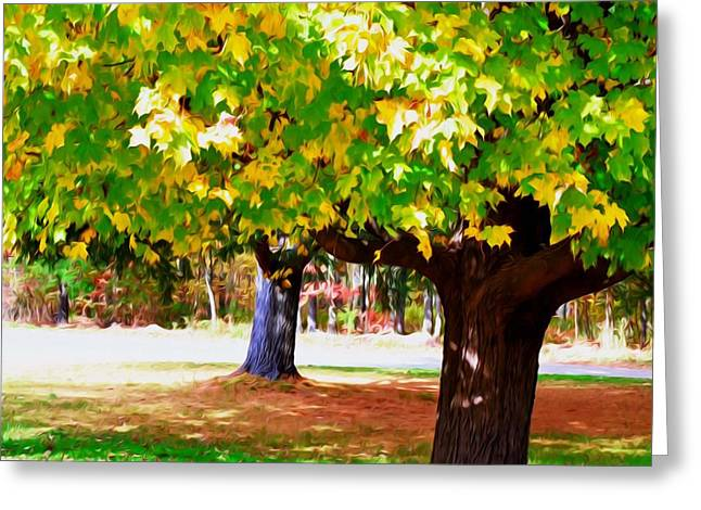 Park Scene Paintings Greeting Cards - Fall leaves trees 1 Greeting Card by Lanjee Chee