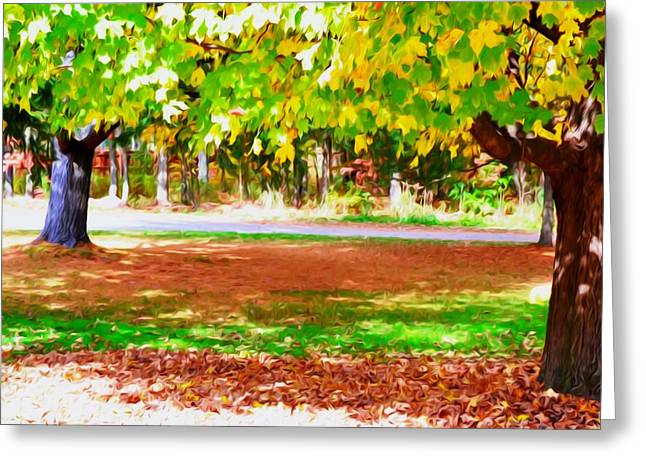 Park Scene Paintings Greeting Cards - Fall Leaves Trees 2 Greeting Card by Lanjee Chee