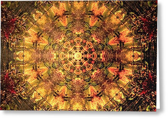 Sacral Chakra Greeting Cards - Fall Mandala Greeting Card by Dagmar Ceki