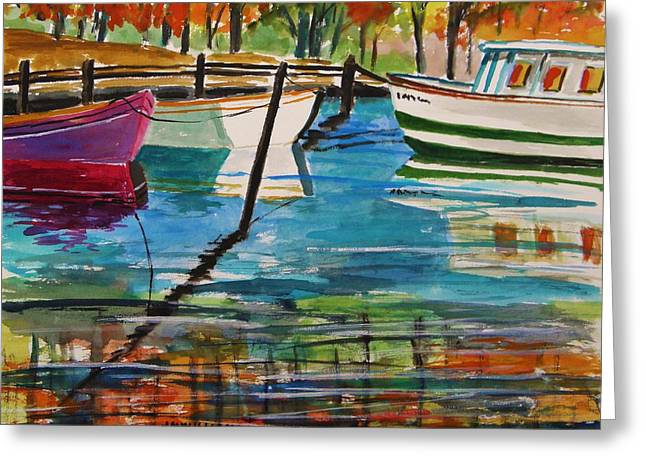 Boats In Harbor Drawings Greeting Cards - Fall Mooring Greeting Card by John  Williams