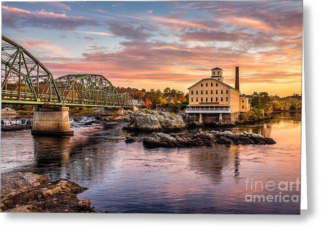 Mills Photographs Greeting Cards - Fall Morning Across from the Bowdoin Mill Greeting Card by Benjamin Williamson