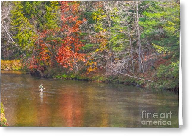 Fish Digital Art Greeting Cards - Fall Morning Fly Fishing Greeting Card by Randy Steele
