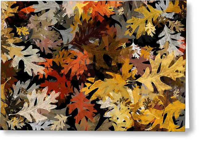 Assorted Mixed Media Greeting Cards - Fall Oak Leaf Abstract Art Greeting Card by Christina Rollo