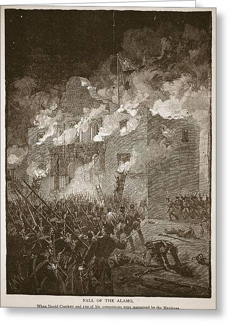 Massacre Greeting Cards - Fall Of The Alamo, From A Book Pub. 1896 Greeting Card by Alfred R. Waud