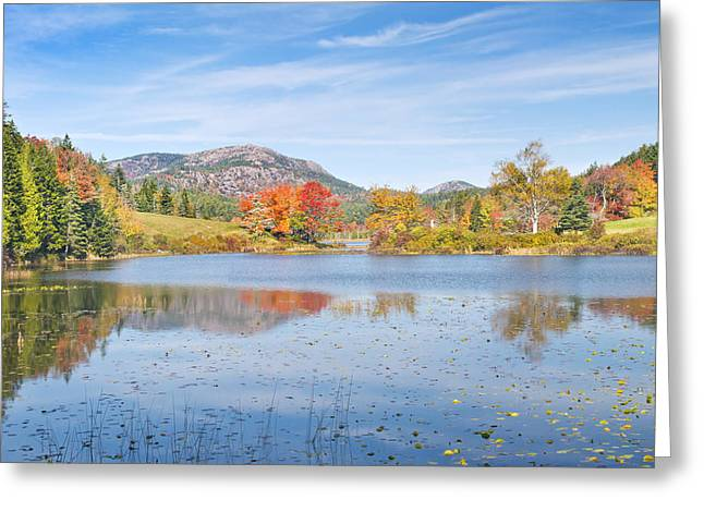 New England Wilderness Greeting Cards - Fall on Long Pond Acadia National Park Maine Greeting Card by Keith Webber Jr