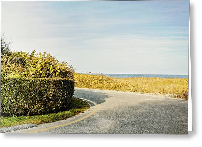 Cape Cod Mass Greeting Cards - Fall on Nantucket Cape Cod MA country road with ocean view Greeting Card by Marianne Campolongo