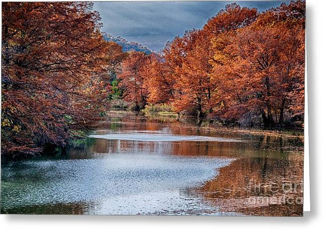 Hills Pyrography Greeting Cards - Fall on the Guadalupe Greeting Card by Ken Williams