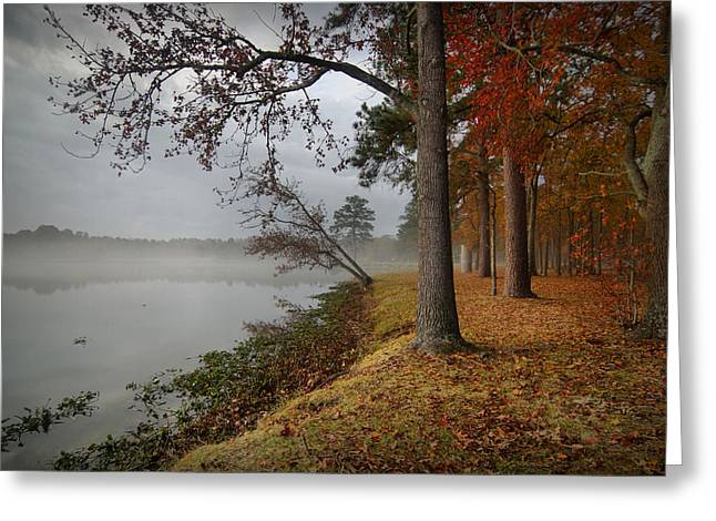 Autumn Scenes Digital Art Greeting Cards - Fall on the Lake Greeting Card by Linda Unger