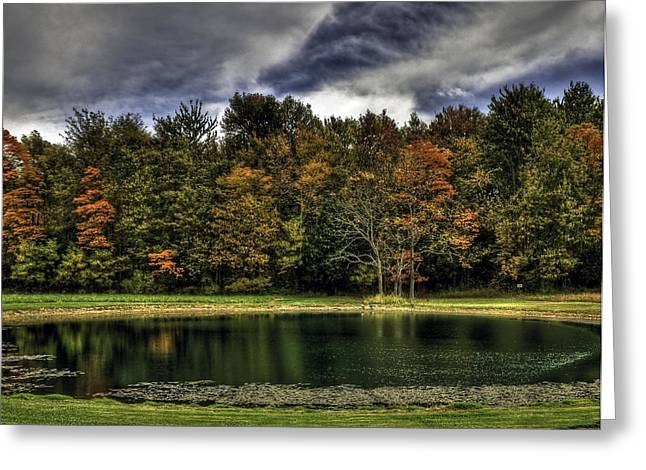 Indiana Autumn Greeting Cards - Fall on the Lake Greeting Card by Sharon Meyer